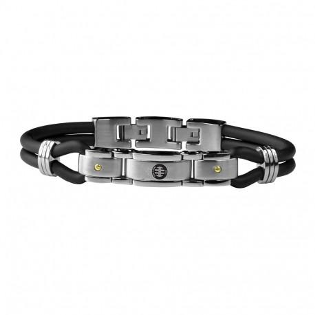 Bracelet acier/silicone 2 vis or ASSE
